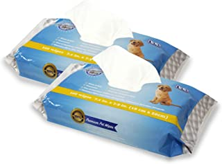 DOG GROOMING WIPES Hypoallergenic All-Natural Dog Wipes. LARGE SIZE 200 count, Unscented, Smooth, Hydrating, Deodorizing P...