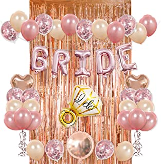 Bride Party Decorations Kit- Rose Gold Foil Fringe Curtain, 20 Latex Balloons, 10 Confetti Balloon, Bride and Ring Heart R...