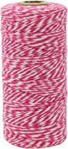 Just Artifacts ECO Bakers Twine 240yd 4Ply Striped Fuchsia - Decorative Bakers Twine for DIY Crafts and Gift Wrapping