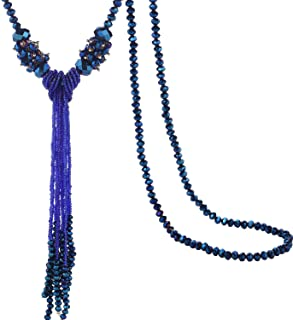 Multi-Color Crystal Beads Strand Knot Long Beaded Tassel Necklace for Women Girls