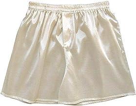 Satijn Mannen Boxers Sexy Ondergoed Comfortabele Effen Kleur Zachte Mannen Nachtkleding Boxers Shorts (Color : Beige, Size...