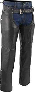 M-BOSS MOTORCYCLE APPAREL-BOS15508-BLACK-Men's pant style zipper pocket naked cowhide leather chaps.-BLACK-LARGE