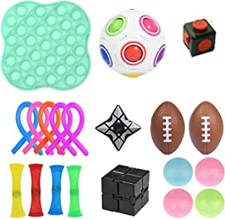 Toys Set 20 Pcs Stress Relief And Anti-Anxiety Tools Bundle Marble And Mesh Pack Of Squeeze Balls Soybean Squeeze Push Pop...