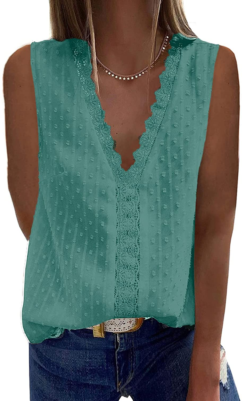 Aukbays T-Shirt for Women Summer Women's V Neck Short Sleeve Lace Shirts Blouses Vintage Elegant Tunic Tops Blouses