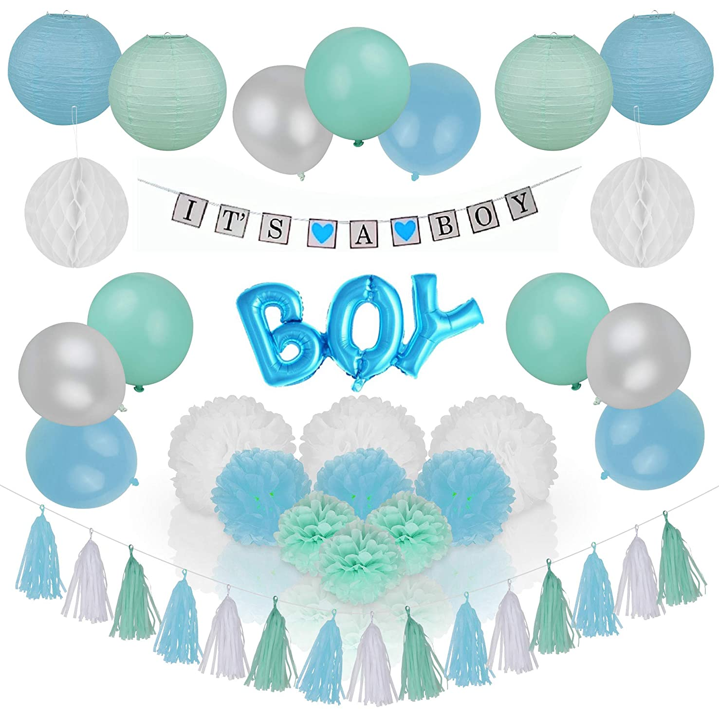 Spotlight Decor - It's A Boy Baby Shower Party Decorations | Gorgeous Tri-Color Set Includes Mint Green, Baby Blue & White Balloons, Banner, Paper Lanterns, Pom Poms & Party Tassels | Easy to Assemble