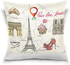 "MASSIKOA Paris Tower High Heels Map Decorative Throw Pillow Case Square Cushion Cover 16"" x 16"" for Couch, Bed, Sofa or Pa..."
