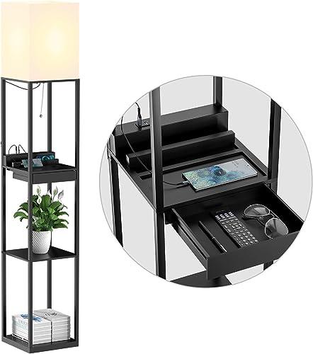 SUNMORY Lampadaire Salon, Lampadaire Bois Massif avec 3 Températures de Couleur, 2 Ports de Charge USB et 1 Tiroir, L...