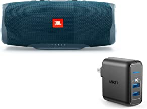 JBL Charge 4 Portable Waterproof Wireless Bluetooth Speaker Bundle with Anker 2-Port Wall Charger - Blue