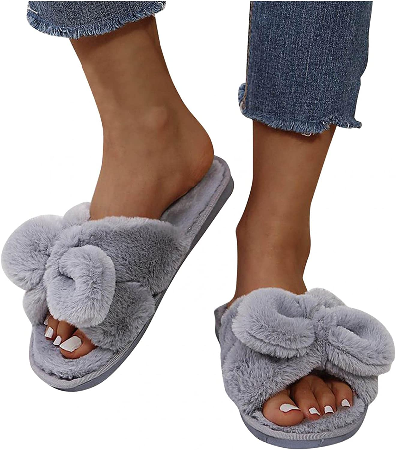 Gibobby Slippers for Women,Women's Fashion Dressy Bowknot Memory Foam Soft Slip On House Slippers Cozy Fuzzy Comfort House Shoes