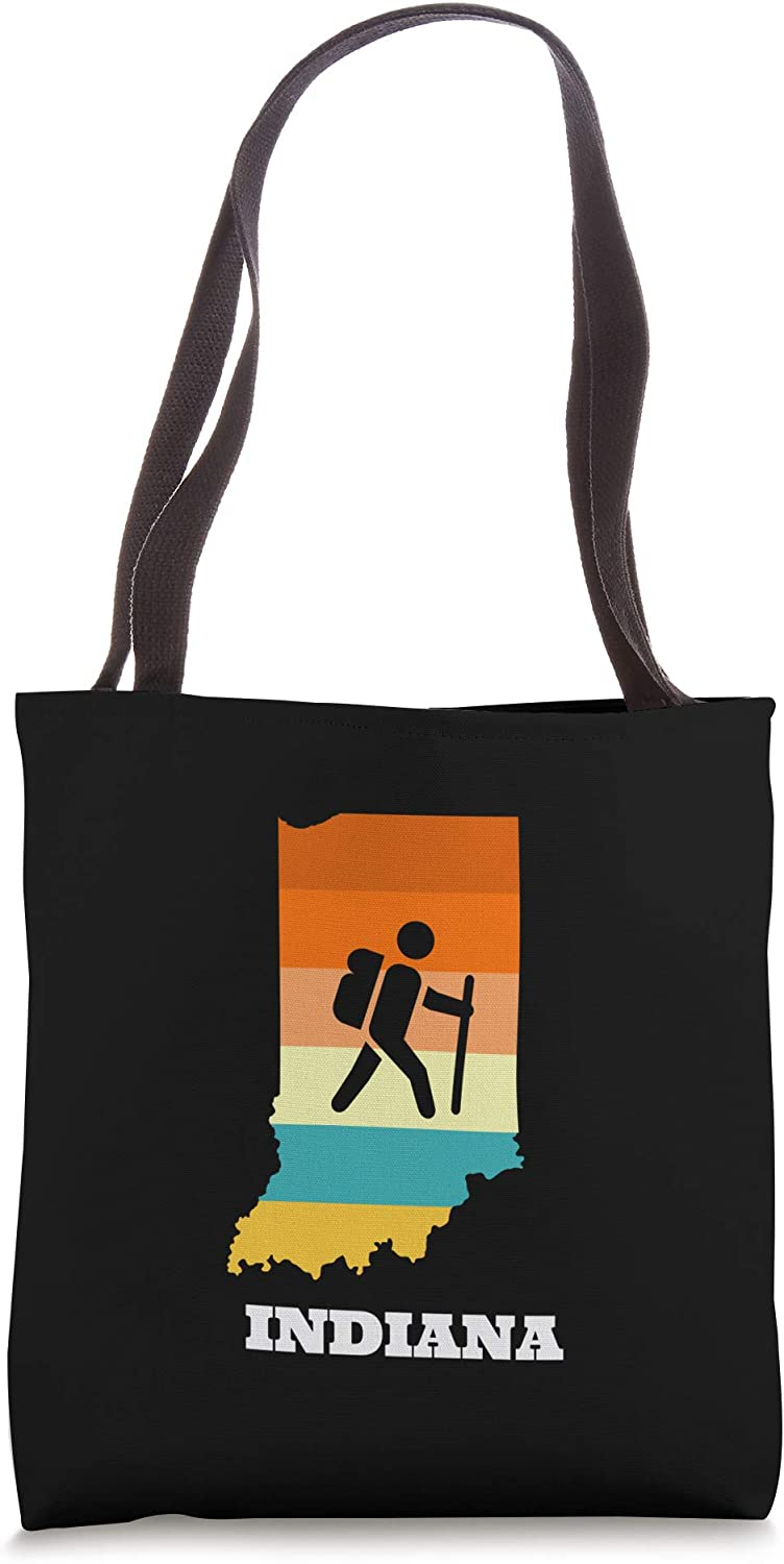 Backpack Through The State Of Indiana Retro Design Tote Bag