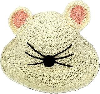 Plus Nao(プラスナオ) 子供用麦わら帽子 耳付き麦藁帽子 ストローハット つば広帽 ツバ広ハット キッズ アニマルフェイス ヒゲデザイン 日