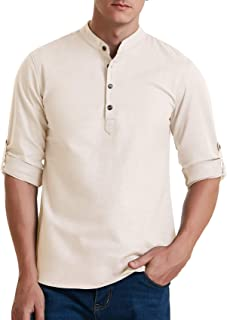 Men's Cotton Linen Long Sleeve Henley Shirt Casual Beach T Shirts Henley Tops