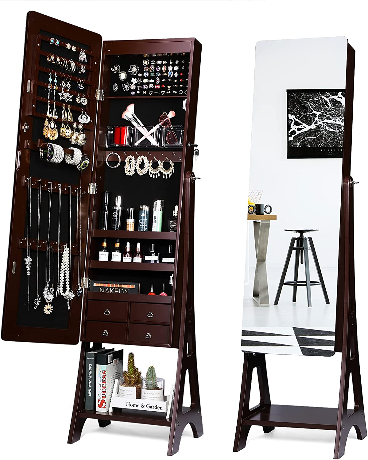 TWING Jewelry Cabinet 年中無休 Armoire Free Standing Armoir 年中無休 LED 6
