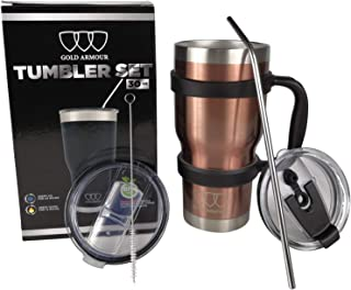30 oz Tumbler - 6 Piece Stainless Steel Insulated Water & Coffee Cup Tumbler with Straw, 2 Lids, Handle - 18/8 Double Vacuum Insulated Travel Flask (Rose Gold)
