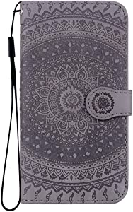 Reevermap Moto Case Leather  Protective Wallet Flip Embossed Mandala Premium Kickstand Magnetic Buckle Notebook Cover for Moto G7  Grey