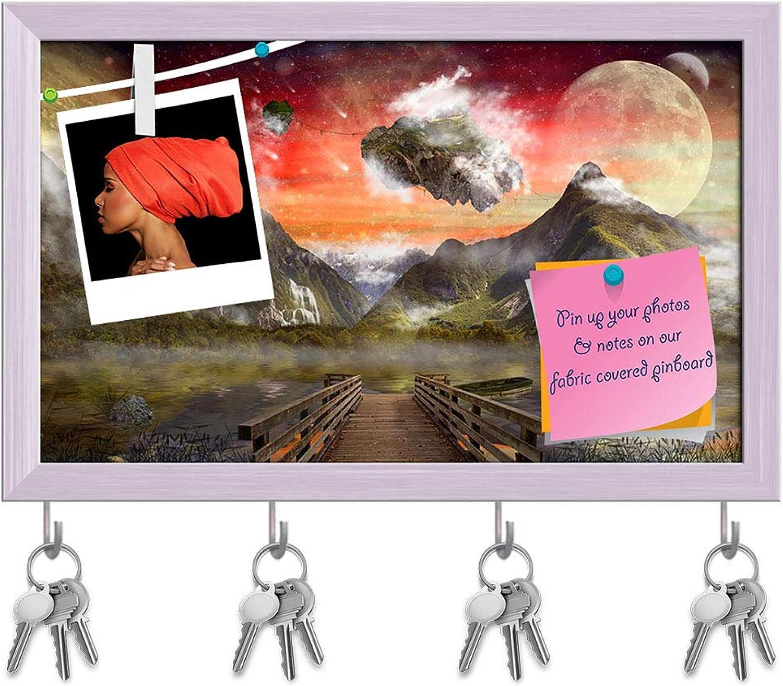 Artzfolio Fantasy Land Key Holder Hooks   Notice Pin Board   White Frame 19.3 X 12Inch
