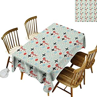 kangkaishi Anti-Wrinkle and Anti-Wrinkle Polyester Long Tablecloth for Weddings/banquets Circle Zig Zag Waves Mathematical Forms Education Lifestyle Illustration W60 x L84 Inch Cream Baby Blue Red