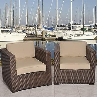 International Home Miami Bellagio Deluxe 2 Piece Wicker Patio Armchair Set with Sunbrella Antique Beige Cushions