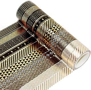 ruiqiu Lot de 10 rouleaux de ruban adhésif Washi en feuille d'or pour le scrapbooking, le bricolage, la décoration