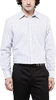 AMERICAN CREW Men's Cotton Stripes Shirt with Pocket (White & Red)