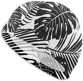 Sprutea Seamless Pattern Palm Tree Leaves Vector Image Customized Durable Soft Swim Cap Summer Unisex Suitable for Aqua Aerobics