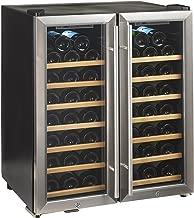 Wine Enthusiast Silent 48 Bottle Wine Refrigerator - Freestanding Double Door Dual Zone Wine Cooler, Stainless Steel