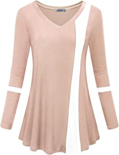 MOQIVGI Womens Long Sleeve V Neck Color Block Blouse Casual Flowy Tunic Tops