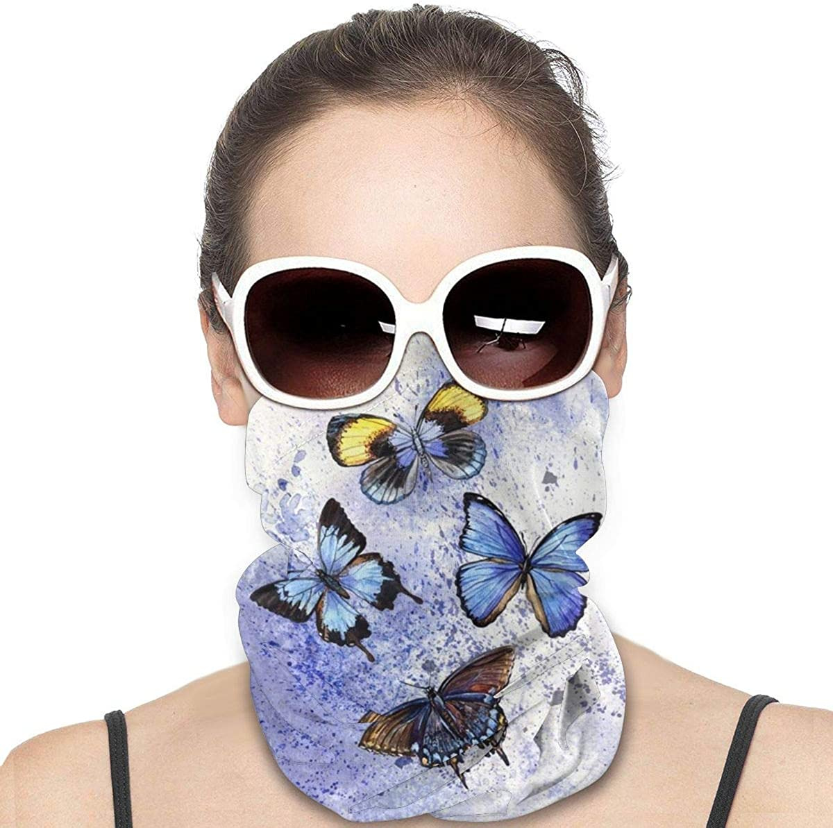 KiuLoam Women Bandanas Face Mask, Watercolor Butterflies Blue Neck Gaiter Mask Headband for Men Face Scarf Dust, Outdoors, Sports