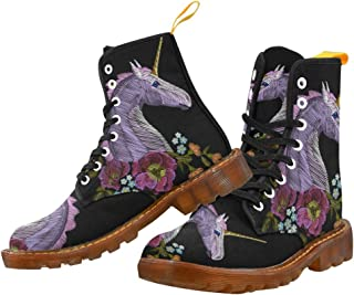 Artsadd Fashion Shoes Unicorn Lace Up Boots for Women