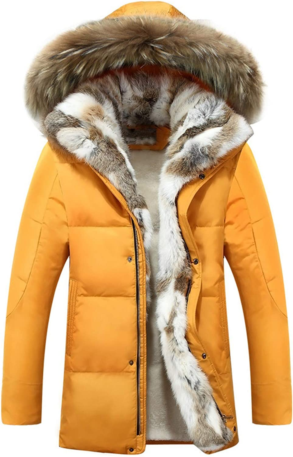 Fur Warm White Duck Feather Coat Women Down Parka Plus Size Rabbit Hair Hooded Outerwear