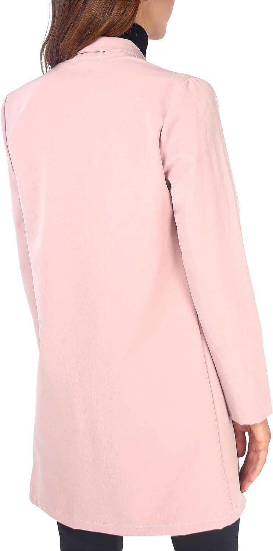 KRISP Damen Eleganter Blazer Anzugjacke Jacke Tailliert Lang und Kurz Rosa (5403)