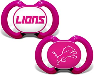 Baby Fanatic NFL Legacy Infant Pacifiers, Detroit Lions Pink, 2 Pack