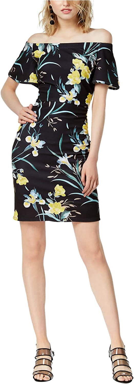 bar III Womens Floral Off-Shoulder Dress