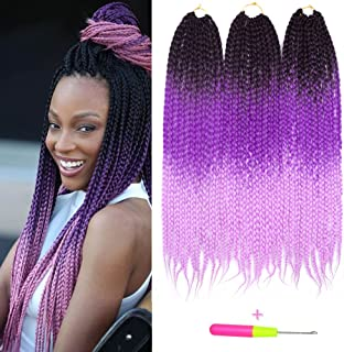 Box Braids Crochet Hair Extensions 100g/pcs Kanekalon Three Tone Ombre Braiding Hair Synthetic Crochet Box Braids (24 inch 3 pcs, 1b/purple/pink)