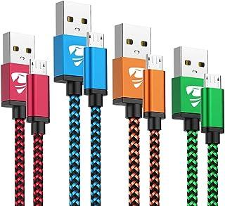 كابل USB صغير Aioneus سريع شاحن سلك Android 4 حزم [2FT, 3FT, 5FT, 6FT] سلك شحن كابل متوافق مع Samsung Galaxy S7 Edge S6 S5...