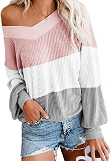 Frieed Womens Casual V Neck Shirt Loose Waffle Long Sleeve Color Block T-Shirts Tops