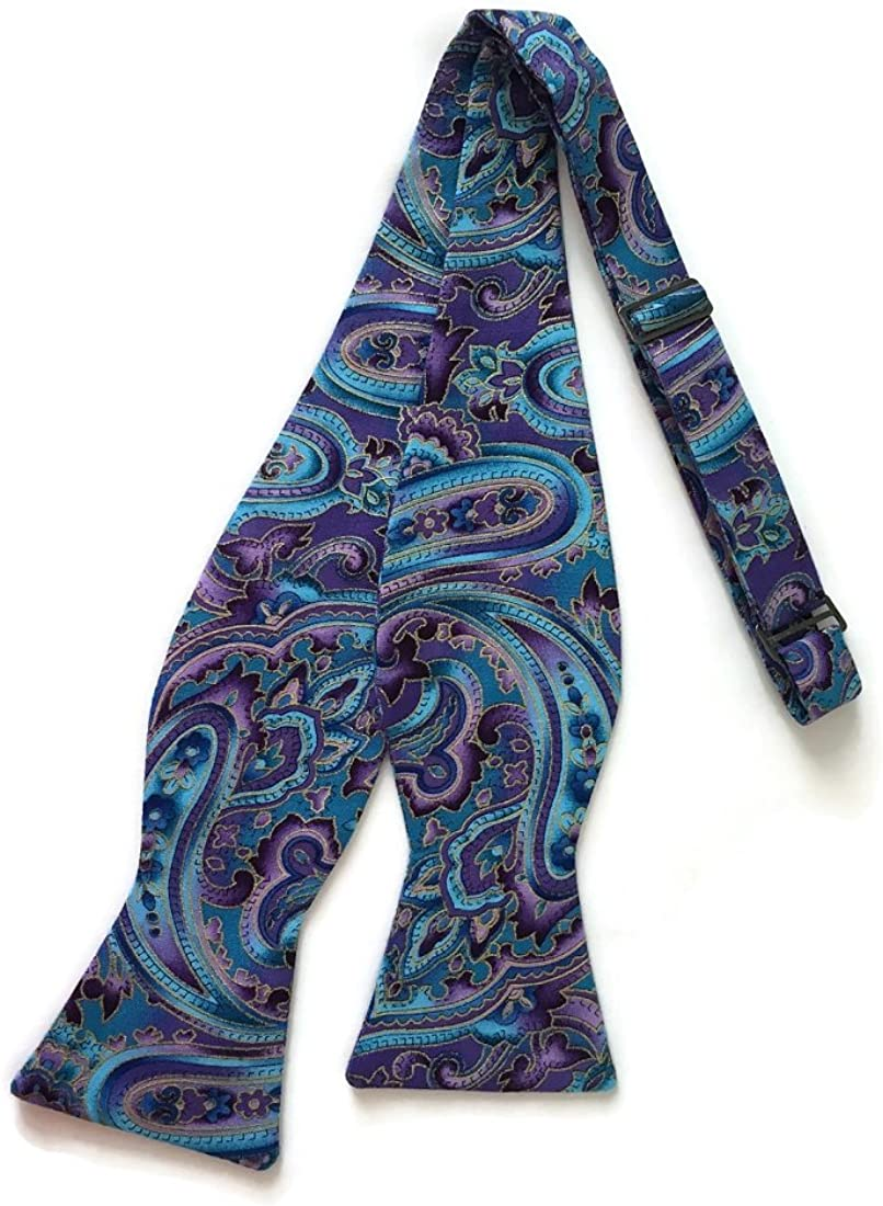 Holiday Bow Ties Mens Self-tie Bow Tie Vintage Purple Blue Paisley Gold Metallic