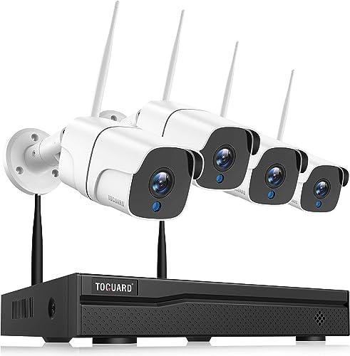 TOGUARD Kit de Cámaras de Vigilancia IP WiFi Exterior, 8CH 1080P NVR 1080P Camara Videovigilancia Inalambrica con Det...