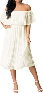Best off shoulder pleated dress Reviews