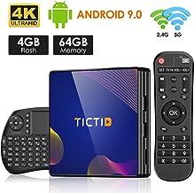 Android 9.0 TV Box【4G+64G】con Mini Teclado inalámbirco con touchpad RK3318 Quad-Core 64bit Cortex-A53, Wi-Fi-Dual 5G/2.4G,BT 4.1, 4K*2K UHD H.265, USB 3.0 Smart TV Box