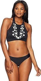 Coastal Blue Womens Women's Swimwear Mesh Embroidered Bikini Top
