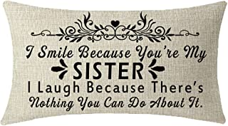 Nice Gift To Sister Friends I Smile Because You're My Sister Lumbar Waist Cotton Linen Throw Pillow Case Cushion Cover Couch Sofa Decorative Rectangular 12x20 inches
