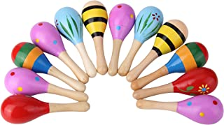 12PCS Mini Wood Festival Maracas Toys, Wooden Maracas Festival Painting, Wooden Carnival Maracas (Random Colours)