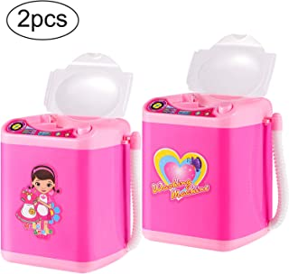 2 Pieces Makeup Brush Cleaner Device Sponge Washing Machine Cleaning Brushes Device Automatic Cosmetic Brush Washing Machine Mini Toy for Women Girls