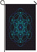 Ahawoso Outdoor Garden Flag 28x40 Inches Alchemy Sacred Metatron Light Blue Contour Monochrome Label Geometry Abstract Ancient Aztec Esoteric Seasonal Home Decorative House Yard Sign