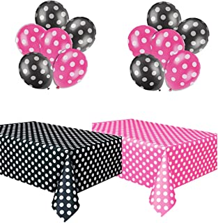 Best Polka Dot Party Set, Includes 1 Hot Pink Tablecloth, 1 Black Tablecloth, 6 Hot Pink Balloons and 6 Black Balloons. Review
