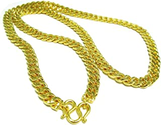 Men's Deluxe Diamond-Cut Chain Heavy Real 24k Gold Plated Thai Baht Gold GP Necklace 28 inch 10 MM