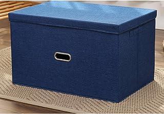 収納ボックス 大容量 収納ケース 綿麻 小物入れ 雑品収納 多機能 軽量 小型 蓋付き 撥水 大容量 衣類収納ボックス 強い耐久性 安定 文具収納 業務用 取っ手おき 整理 片づけ 引越し 衣替え 整理整頓 44*29*30cm 紺色