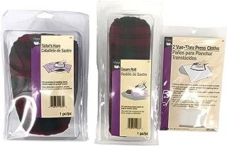 Sewing Pressing Bundle Set: Includes 1 Dritz Tailor's Ham, 1 Dritz Seam Roll, and 1 Dritz 2 Vue-Thru Press Cloths