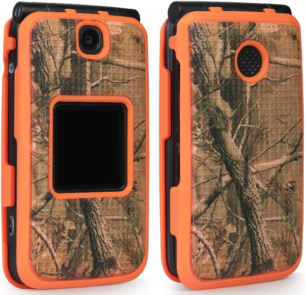 Case with Clip for Alcatel Go Flip V, [Orange Camo] Tree Leaf Real Woods Cover with Belt Hip Holster for Alcatel Go Flip, MyFlip 4G, QuickFlip, AT&T Cingular Flip 2, (A405DL, 4051s, 4044, A405)